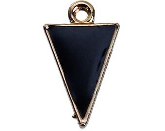 10 Gold Plated ARROWHEAD TRIANGLE Pendants Charms, black enamel, gold plating, chg0527