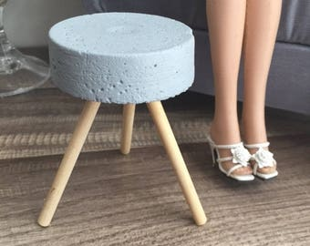 1:4 scale Concrete Stool in Grey for Dioramas for Tonner and similar 16 inch dolls