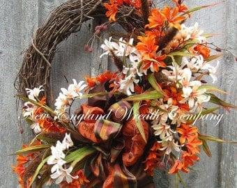 ON SALE Fall Wreath, Autumn Wreaths, Fall Floral Wreath, Fall Designer Wreath, Elegant Fall Wreath, Fall Garden Wreath