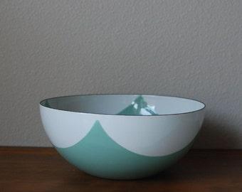 Cathrineholm Seafoam green White Draped square diamond tent pattern 9.5 bowl  RARE  Mid century modern enamel