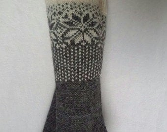 Hand Knitted Mid-Thigh Length Woolen Socks for Women or Girls (ready to ship)
