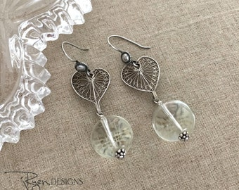 Repurposed Art Deco Earrings, Crystal Dangle Earrings, Silver Heart Earrings, Vintage Repurposed Jewelry Earrings, Unique OOAK Earrings