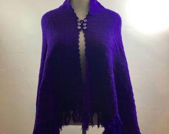 Vintage Poncho, Handmade Shawl, Vintage Purple Shawl, High Collar, Purple Poncho, Handmade Poncho, Purple Vintage, Vintage Shawl, Boho Shawl