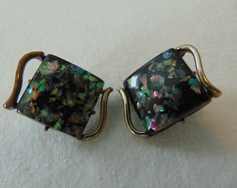 vintage coro black confetti lucite squares clip on earrings gold plated signed