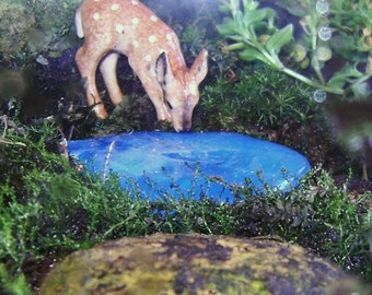 Miniature Glass POND, Terrariums, Fairy Garden accessories, AQUA, stained glass, fused glass
