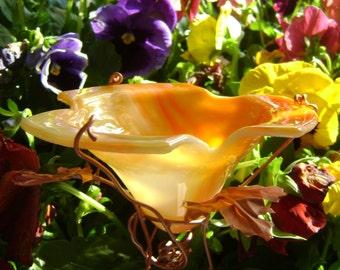 Bird and Butterfly Feeder, Suncatcher, stained glass, copper, ORANGE YELLOW, outdoor, Garden Decor