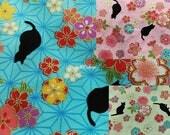 Cat and cherry blossom, gold metallic, 1/2 yard, pure cotton fabric