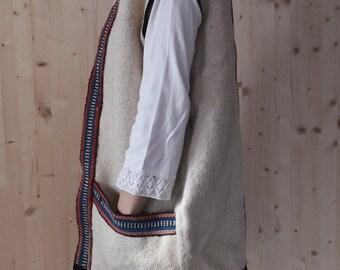 SALE Vintage  Wool Gilet southwestern vest oversized vest Boho 70s hippie vest