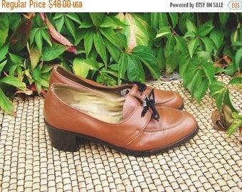 SALE Vintage 60's Brown Leather Heeled Shoes/Mod Shoes EU38 US 7.5