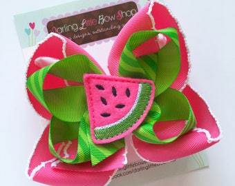 Watermelon bow -- Summertime Sweetness -- pink and apple green polka dots -- Darling Little Bow Shop