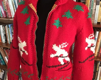 COWICHAN from HEAVEN-- The Coolest Red 1950s Cowichan Sweater