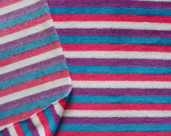 Vintage Rainbow Terrycloth Fabric in Stripes . 70's Towel Fabric . Stretch Knit Romper . Blue Pink Purple White . 1970s 1980s 80s Retro
