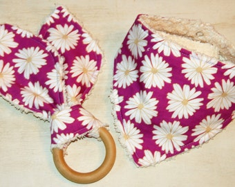 Baby Bandana Drool Bib and Wooden Teething Ring Set Baby Shower Gift Modern Daisies Purple Maple Wood Organic