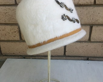 Vintage White Fur Beaded Cloche Hat Made in Italy