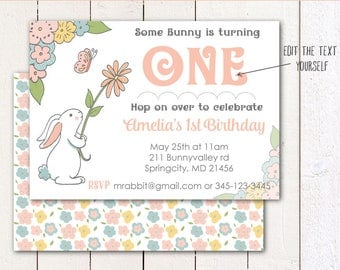 Some Bunny is Turning One/Springtime/ Birthday/ Baby Shower (Instant Download) 5x7 printable invitation and envelope