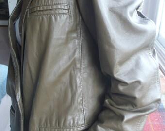 Khaki green buttersoft leather blazer jacket UK 16 US 14