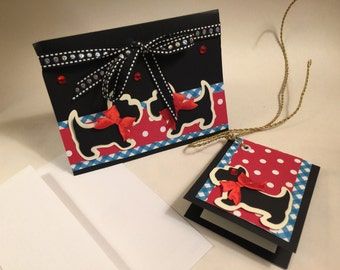 Scottie Dog Cards Set of 4 with Gift Tags. Handmade & Adorable Blank Greeting Cards