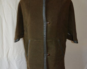 vintage 60's loden moss green warm shearling lined cape M