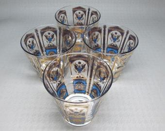 Set of four CULVER glasses Massachusetts , mid century modern , barware
