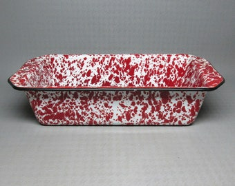 Red and white spatterware enamel bread / loaf / meatloaf pan , no marks ( agate )