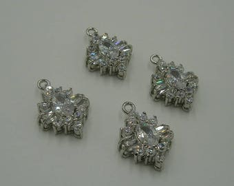Clear   Cubic Zirconia CZ Rhodium Plated Pendant Charm Findings Jewelry Supply.