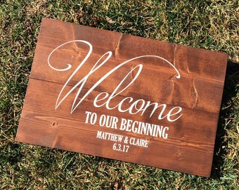Welcome to our Beginning, Two become One Wooden Rustic Farmhouse Wedding Sign