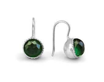 Green tourmaline earrings, Tourmaline Earrings, Swarovski Green Earrings, Silver Dangle Earrings, October Birthday, Crystal Silver Earrings