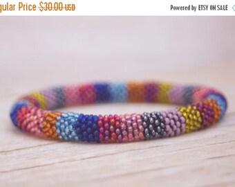 ON SALE Bead Crochet Bracelet - Multicolor