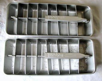 2 Vintage Aluminum Ice Cube Trays Hotpoint