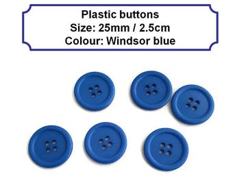 25mm Blue plastic button 2.5cm sewing haberdashery 4 holes circle button round large