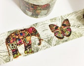 Bright Colorful Elephant and Butterfly on Off White Globe Background Indian Elephant Washi Tape 11 yards 10 meters 30mm
