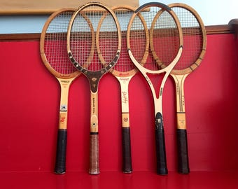 RESERVED FOR MARA Vintage Wood Tennis Racquets Mid Century Wood Tennis Rackets Rod Laver Billie Jean King Donnay Bancroft