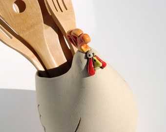 Rooster shaped spoon holder, utensil holder or crock perfect for your country kitchen