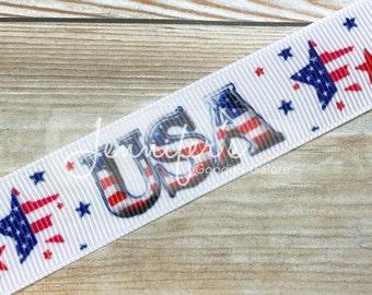 """USA Ribbon, 7/8"""", Stars and Stripes Ribbon, Patriotic Ribbon, 4th of July Ribbon, July 4th Bows, Hair Bow Ribbon, Ribbon for Bows"""