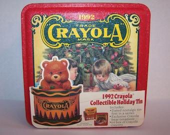 CRAYOLA® Tin 1992 Collectible Holiday Tin Crayons Ornament Metal Storage