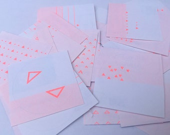 Fluro Orange Gift Stickers - Mountains and Triangles - Risograph Printed - Small - Forget Cake