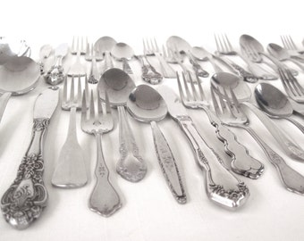 Cottage Chic Stainless Silverware Set Mismatched Flatware Service for 12, 8, 4