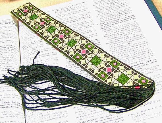 Ribbon Bookmark - Jacquard / Royal Patterns Oriental Motif - Gold, Jade & Garden Pink on Black - Black Fringe