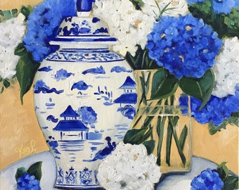 Original still life painting: Chinoiserie Still Life with Blue and White GInger Jar and Hydrangeas, oil painting, fine art canvas