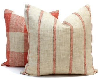 Decorative Pillow Cover, French Grain Sack Style Pillow Cover with Coral Stripes on Natural, Made to order size, Shabby Chic Stripe Pillow