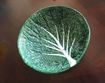 Vintage Majolica Bowl Caldas da Rainha Portugal Cabbage Leaf 614 Green Earthenware Pottery