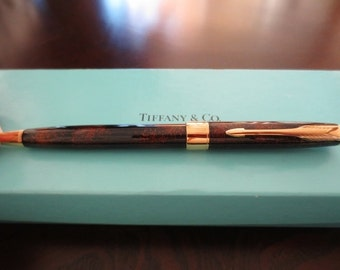 Tiffany & Co Parker Sonnet Ball Point Pen Chinese Lacquer Brown Gold Laque Rare France Hallmark