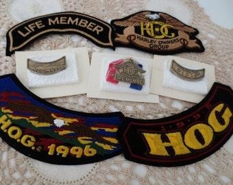 Vintage HARLEY DAVIDSON Patch Pin Lot (7) Motorcycle Biker Hog Life Member Collection