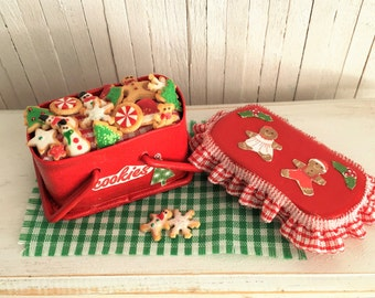 Miniature Christmas Picnic Basket Filled With Christmas Sugar Cookies