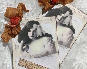 Vintage Woman Gift Tag Set, Notecards, Stationery, Scrapbooking, Journals, Keepsakes,Ephemera