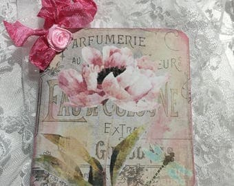 XL Shabby Chic Flower Gift Tag Set, Notecards, Stationery, Postcards, Journaling, Scrapbooking, Gift Item