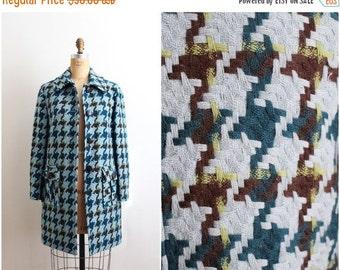 S a L E - 80s Tweed Turquoise Coat / Anne Klain Coat/ Wool Coat / Size S/M