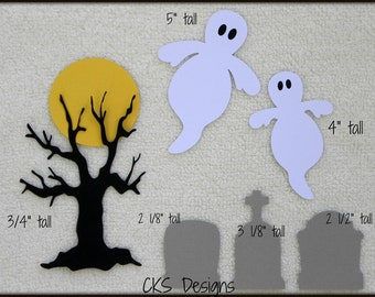 Die Cut Halloween Cemetary Tombstone Scrapbook Page Embellishments for Card Making Scrapbook or Paper Crafts