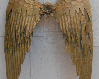 Gold Angel Wings / Metal Angel Wings / Shabby Angel Wings / Home And Living / Room Decor / Christmas Angel Wings / Nursery Room Wall Decor