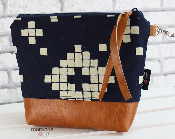 AVA Medium Clutch - Indigo Tiles with PU Leather READY to SHIp Cosmetic Archery Diaper bag Travel Make Up Zipper Pouch